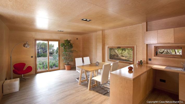 Interior casa de madera madera o pladur - Interiores casas de madera ...