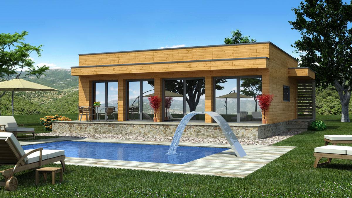 Natura rosso 80 casas de madera casas natura - Montaje de casas de madera ...